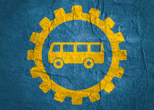 Bus icon in gear Royalty Free Stock Photography