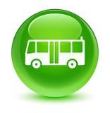 Bus icon glassy green round button Stock Image