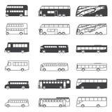Bus icon set. Silhouette black symbol transport Stock Photos