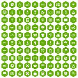 100 bus icons hexagon green. 100 bus icons set in green hexagon  vector illustration Royalty Free Stock Photos