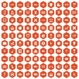 100 bus icons hexagon orange. 100 bus icons set in orange hexagon isolated vector illustration Stock Photography