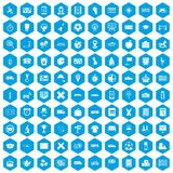 100 bus icons set blue. 100 bus icons set in blue hexagon isolated vector illustration Vector Illustration
