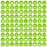 100 bus icons set green circle. Isolated on white background vector illustration Royalty Free Stock Photo