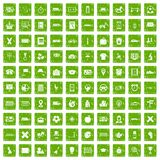 100 bus icons set grunge green Royalty Free Stock Photos