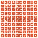 100 bus icons set grunge orange. 100 bus icons set in grunge style orange color isolated on white background vector illustration Royalty Free Stock Photos