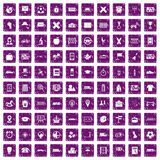 100 bus icons set grunge purple. 100 bus icons set in grunge style purple color isolated on white background vector illustration Royalty Free Stock Images
