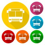 Bus icons set with long shadow Royalty Free Stock Photography