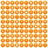 100 bus icons set orange. 100 bus icons set in orange circle isolated on white vector illustration Royalty Free Stock Images