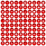 100 bus icons set red. 100 bus icons set in red circle isolated on white vector illustration Royalty Free Stock Images