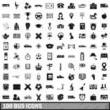 100 bus icons set, simple style. 100 bus icons set in simple style for any design vector illustration Stock Photography