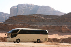 Bus In Wadi Rum Royalty Free Stock Photography