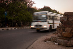 Bus in India. A motion blurred Bus driving on the streets of New Delhi, India Royalty Free Stock Images