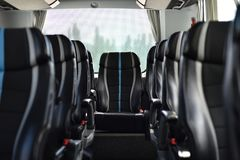 Bus interior in bokeh effect royalty free stock images