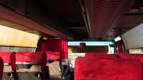 Bus interior with  seats on road stock video