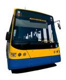 Bus isolato grandangolare con i percorsi di residuo della potatura meccanica Immagine Stock