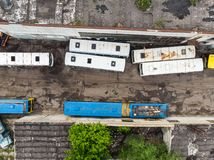 The bus junkyard by drone stock photos