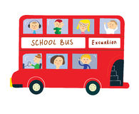 Bus with kids for school or excurtion Stock Image