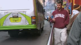 Bus in La Paz city street, Bolivia stock video footage