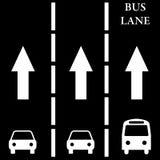 Bus lane. Having a separate bus lane for fast transit Stock Photo