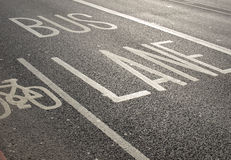 Bus lane. Traffic signs on a street Royalty Free Stock Photography