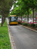 Bus lane. Spanish yellow bus in a narrow lane with trees and green hedges alongside Royalty Free Stock Images