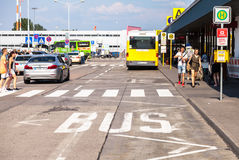 Bus lane on airport schoenefeld stock image