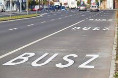 Bus lane on the city street. Bus lane on the empty city street Royalty Free Stock Photos
