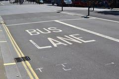 Bus Lane, London. Bus Lane Road Markings In London Stock Photos