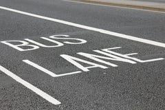 Bus Lane in London. Road surface marking: Bus Lane Royalty Free Stock Photo
