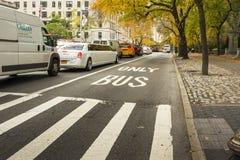 Bus Lane in New York. New York, USA, november 2016: Bus Lane in New York near Central Park Royalty Free Stock Images
