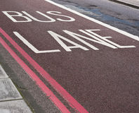 Bus lane road marking Stock Photo