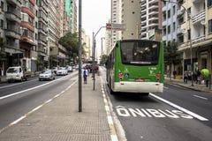 Bus lane. SAO PAULO, BRAZIL, JULY 07, 2014. Bus lane in Sao Joao Avenue Royalty Free Stock Photography