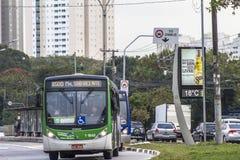 Bus lane. Sao Paulo, Brazil, June 22, 2016. Traffic on Bus Lane in Marques de Sao Vicente Avenue, west of Sao Paulo Royalty Free Stock Photos