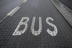 BUS LANE SIGN. Kastrup_ Copenhagen_Denmark _ 01st.December  2016_ Bus lane sign on Amagerlandvej ,Kastrup . Photo Royalty Free Stock Photography