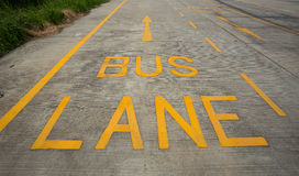 Bus lane sign on the road. Yellow bus lane sign on the road Stock Image