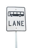 Bus Lane Sign. A bus lane signpost isolated on white background Stock Image