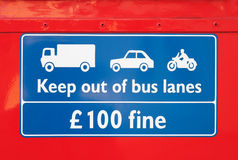 Bus lane warning sign Royalty Free Stock Photo