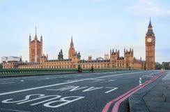 Bus Lane on Westminster Bridge - London, UK royalty free stock photography