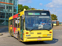 Bus leaving the station near Palais des Beaux-Arts in center of Charleroi Royalty Free Stock Photography