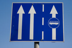 Bus Line. Traffic sign with two arrows and bus line Stock Images