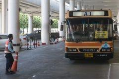 Bus link between Don Mueang International Airport and Bangkok's Royalty Free Stock Image