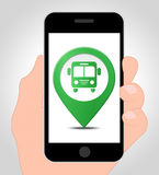 Bus Location Online Indicates Mobile Phone And Buses Stock Photo