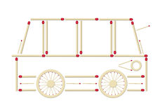 Bus made of matches Stock Images