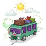 Bus Mascot loaded with Luggage royalty free illustration