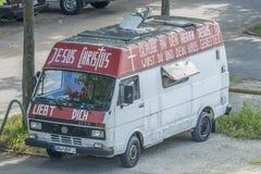 Bus mit religiösen Texten und Sprüchen auf deutsch Royalty Free Stock Photography
