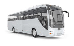 Bus mock up on white background, 3D illustration. City bus with blank surface for your creative design Stock Image