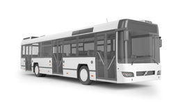 Bus mock up on white background, 3D illustration Royalty Free Stock Images