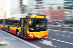 Bus in motion, Warsaw, Poland. Rush hour in Warsaw Center. Blurred Motion Royalty Free Stock Images