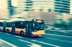 Bus in motion, Warsaw, Poland. Rush hour in Warsaw Center. Blurred Motion. Instagram colors Stock Images
