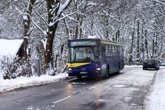 Bus mountain line in Hungary in winter. Miskolc city, 02-18-2018 Royalty Free Stock Photo